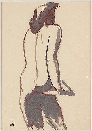 Wilhelm kÅge, two nude studies, ink.