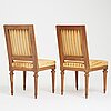 A pair of gustavian late 18th century chairs.