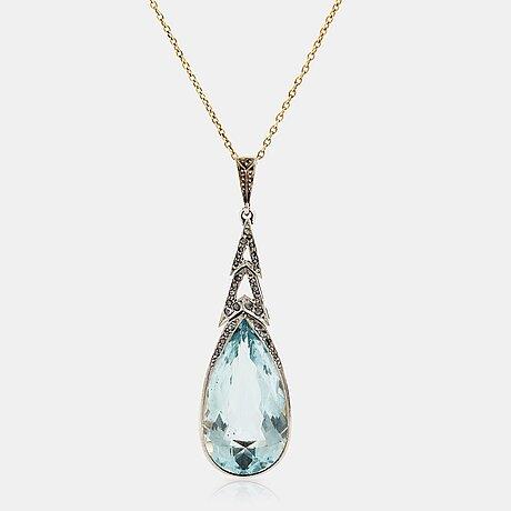 A 14k gold and platinum pendant set with an aquamarine and rose-cut diamonds.