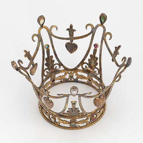 Silver and coloured stones and old-cut diamond bridal crown.