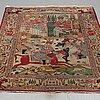 A rug, a semi-antique kashan figural, ca 201-205 x 141,5-142,5 cm.