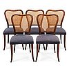 Gunnel nyman, a set of five of 1940s chairs for ab boman oy finland.