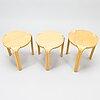 Alvar aalto, a set of three 'x600' stools for artek, late 1990s.