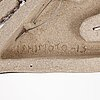 Fujiwo ishimoto, a ceramic relief, signed ishimoto -13.