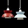 A pair of 1960s pendant lamps by jørn utzon, nordisk solar.