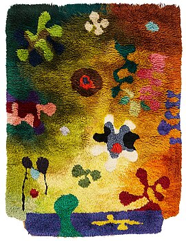 """1010. Pierre Olofsson, A carpet, """"Havsbotten"""", knotted pile in relief, ca 201 x 159 cm. Designed by the Swedish painter Pierre Olofsson."""