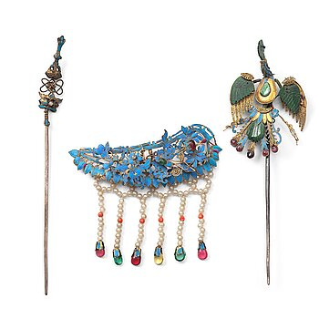 604. Three hairpins, Qing dynasty, 19th Century.