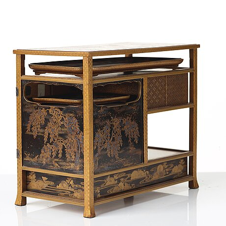 A japanese miniture lacquer cabinet, meiji period (1868-1912).