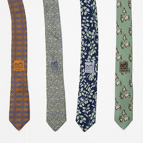 HermÈs, a set of four silk ties.