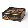 A japanese lacquered box with cover, meiji period (1868-1912).