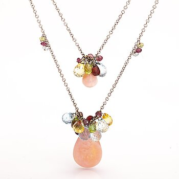 An 18K white gold necklace with topazes, citrines, garnets, peridotes and opals. Zoccai, Italy.