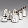 Tapio wirkkala, a silver punch ladle and six silver beakers, marked tw,  kultakeskus, hämeenlinna, finland 1976 an 1974.