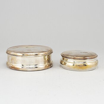 2 silver 800 boxes with lid.
