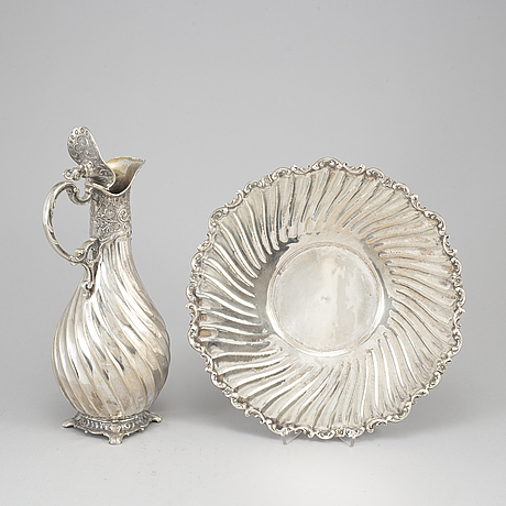 A silver plated jug and a bowl, second half of the 20th century.