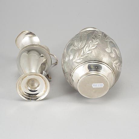 Vas samt kanna, silver 830. sent 1900-tal.