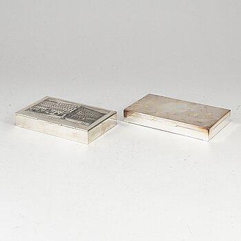 SKRIN, 2 st, silver 800 resp 925. 1900-talets andra hälft.