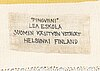 Lea eskola, ryijy, suomen käsityön ystävät. noin 162x115 cm.