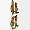 LjusplÅtar, 4 stycken, mässing, barockstil, troligen 1950-tal.