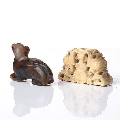 A culptured object and a nephrite figure of a dog, qing dynasty, 19th century.