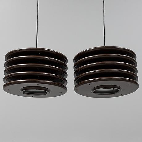 A par of 1970's ceiling lights.