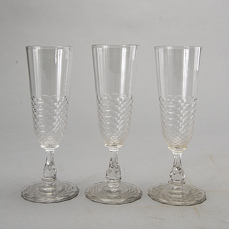 10+7 champagne glasses, decanter, cut decor. first half of 20th century.