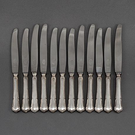 K. andersson, 12 silver knives, model 'barock,' stockholm.