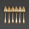 6 gilt silver spoons, g folcker stockholm 1832 and pf palmgren stockholm 1871.