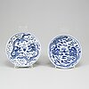 A pair of blue and white dishes, late qing dynasty, with guangxu mark.
