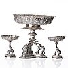 A three piece silver garniture, thailand, circa 1900.