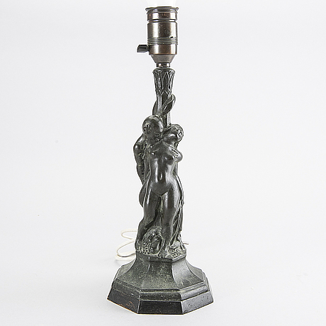 Axel gute, a bronze table lamp, 1920's.