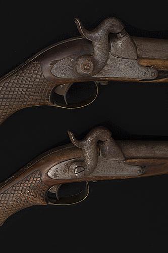 Two swedish cavalry percussion lock pistols model 1850, marked 1852.
