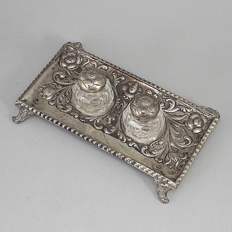 A silver and glass inkwell, henrik möller, trondheim, norway.