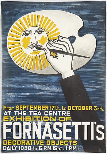 Piero fornasetti, exhibition poster, offset, uk, 1959.