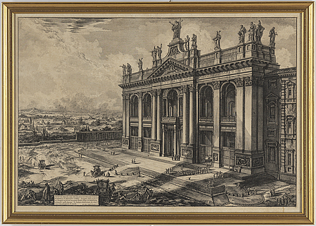 Giovanni battista piranesi, efter, etsningar, 2 st. 1800-tal.