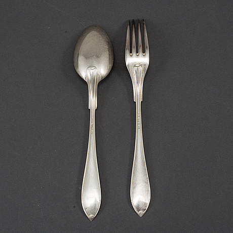 12 spoons and 12 forks, silver, gab, stockholm 1920's.