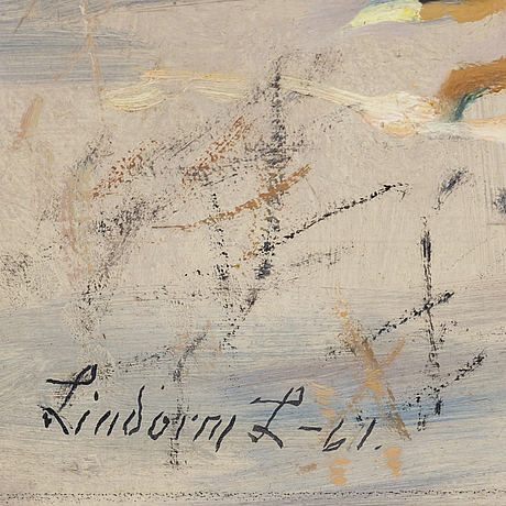 Lindorm liljefors, oil on panel, signed and dated -61.
