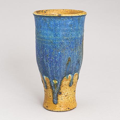 Francesca mascitti-lindh, a ceramic vase, signed fml arabia. late 20th century.