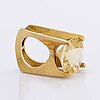 Ring 18k gold with 1 citrin approx 18 x 18 mm, stockholm 1967.