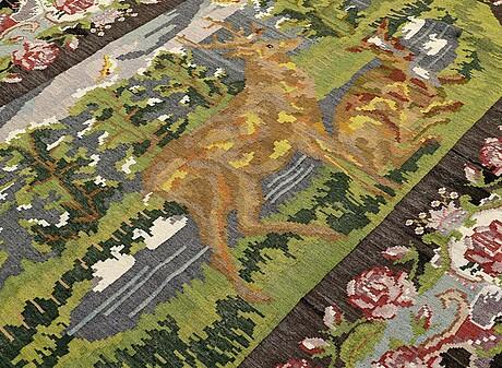 A carpet, figural kilim bessarabian ca 352 x 314 cm.