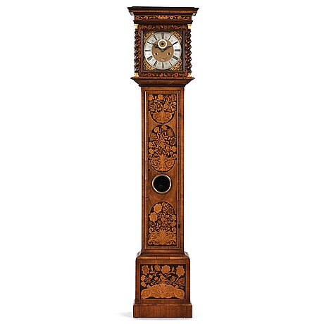 """An english late 17th century longcase clock, dial signed """"daniel le count london""""."""