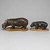 Gunnar nylund, two hippo stoneware figurines from rörstrand.