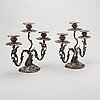 A pair of swedish silver candelabra mark of gustaf mÖllenborg stockholm 1846 , total weight ca 4420 gr, height 31 cm.