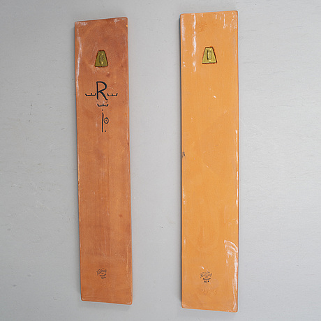 Inger persson, a pair of earthenware wall reliefs, rörstrand, sweden  1960-70's.