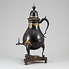 A painted pewter tea urn, 18th/19th century.