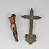 Two 19th century wood and bronze crucifix.