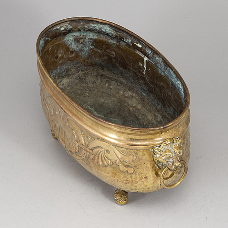 A 19th century brass jardiniere.