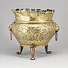 A large 19th century brass flower pot.