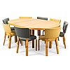 Alvar aalto, a 1950s dinner table with eight chairs, o.y. huonekalu- ja rakennustyötehdas a.b., finland.