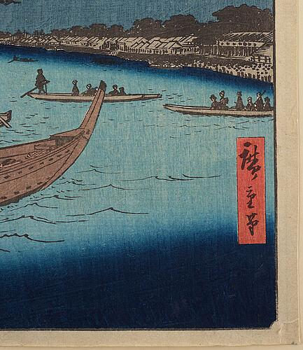 Utagawa hiroshige (1797-1858), colour woodblock print, japan, 19th century.