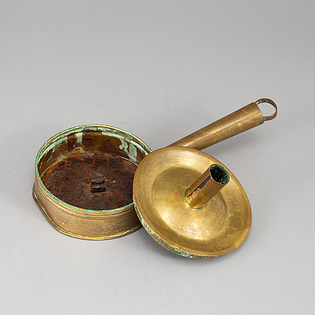 An 18th century brass nignt light holder.